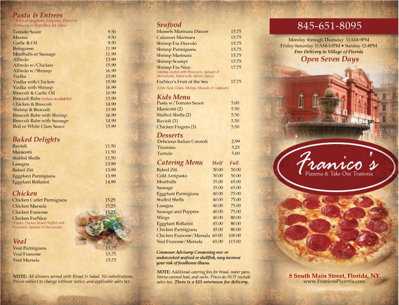 tri fold menu 2018 front franico s pizza and italian restaurant